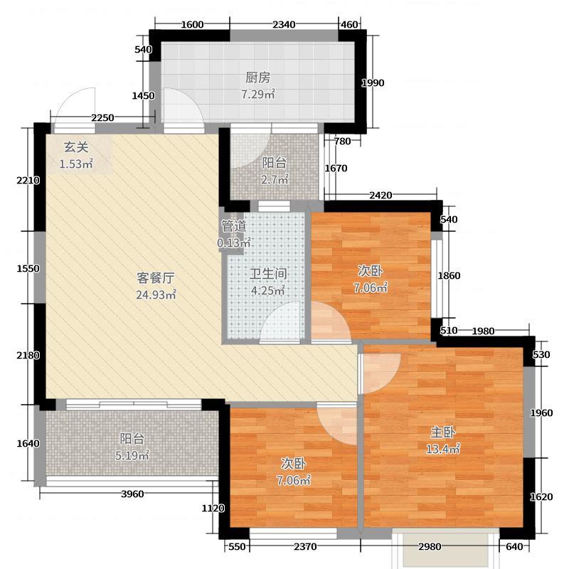 恒大翡翠华庭90.00㎡项目2户型3室3厅1卫1厨