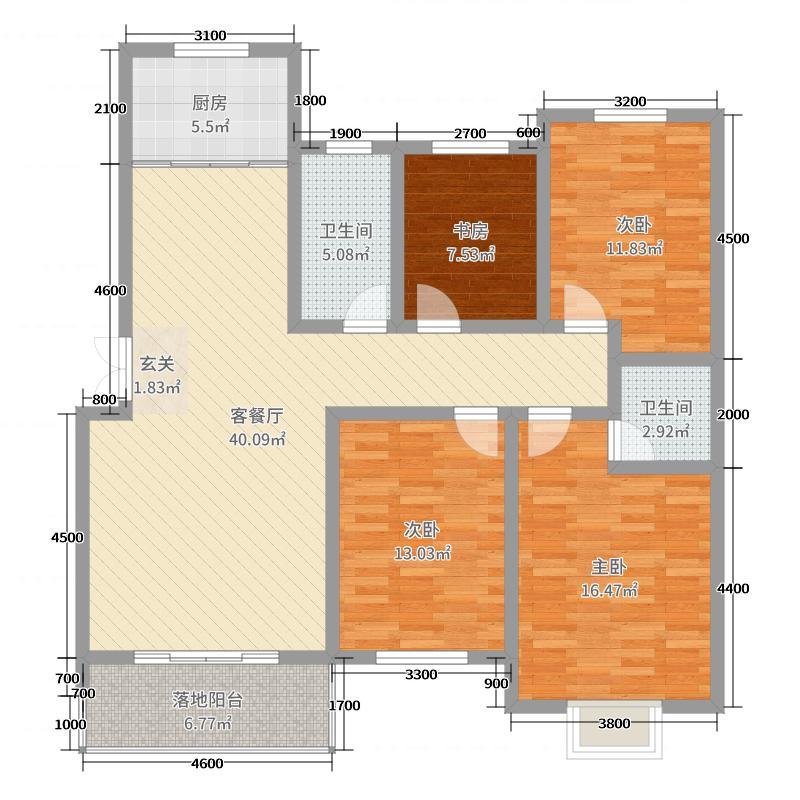 盛世名苑155.80㎡7B户型4室4厅2卫1厨