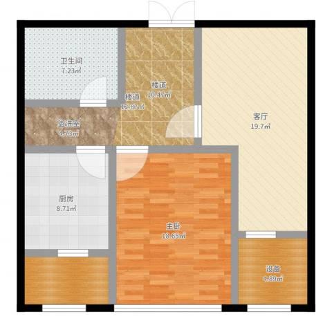 中房上东花墅二期1室1厅1卫1厨95.00㎡户型图