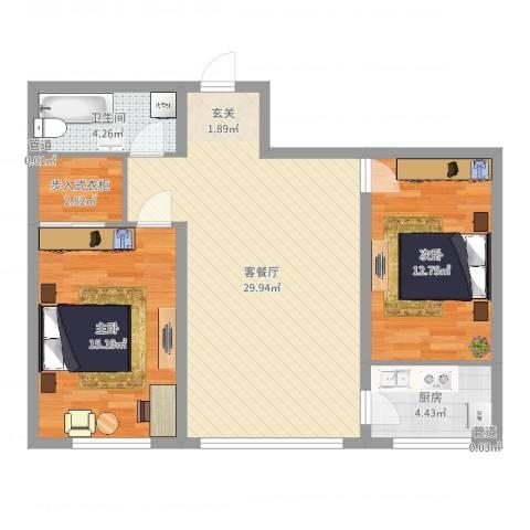 经开四区2室2厅1卫1厨87.00㎡户型图