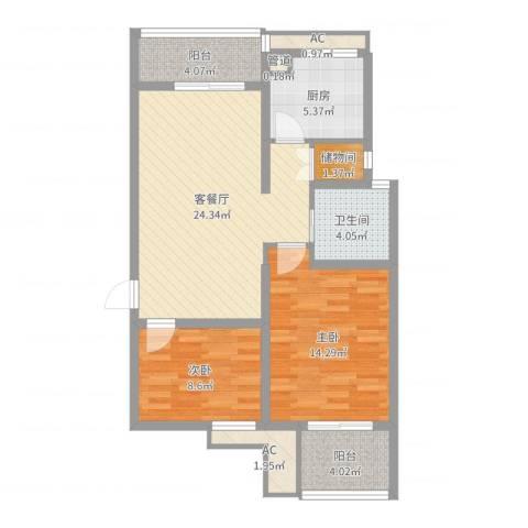 七彩星城国学府2室2厅1卫1厨87.00㎡户型图