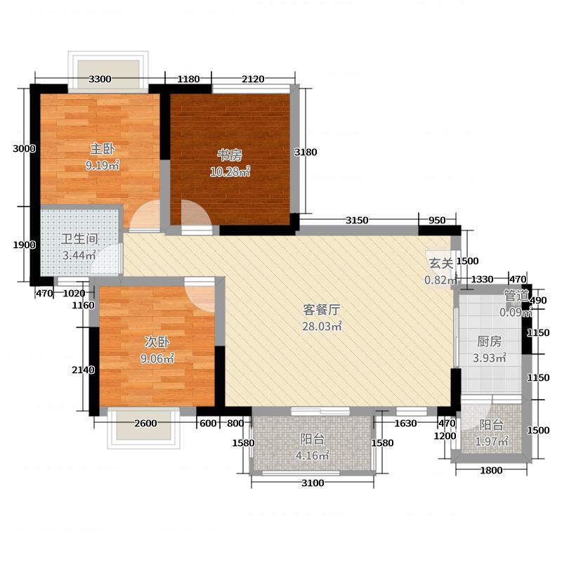 中交・锦亭92.91㎡B2户型3室3厅1卫1厨