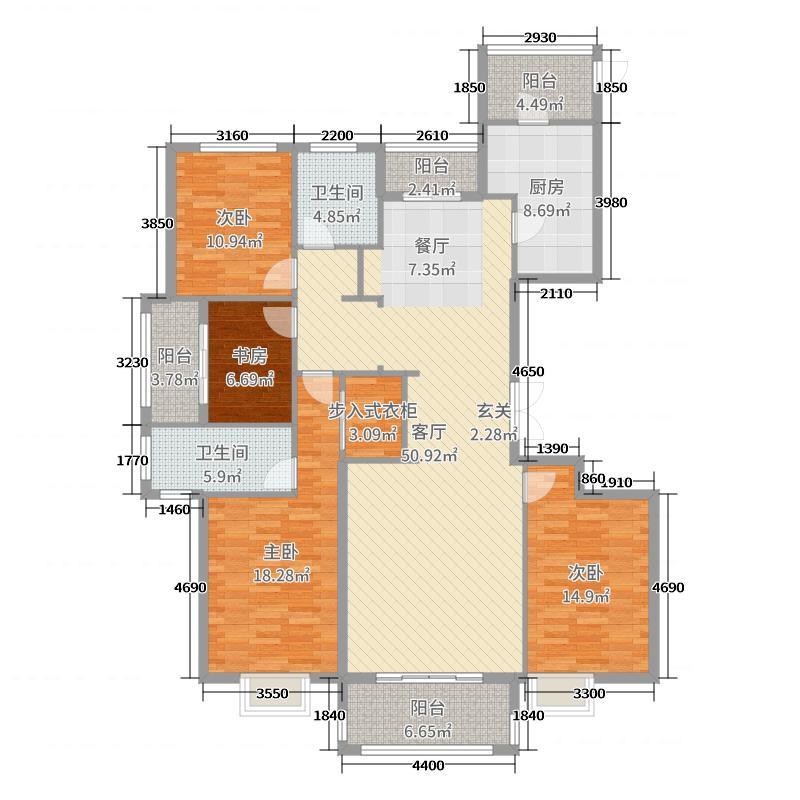 北湖帝景177.00㎡A8单张户型4室4厅2卫1厨