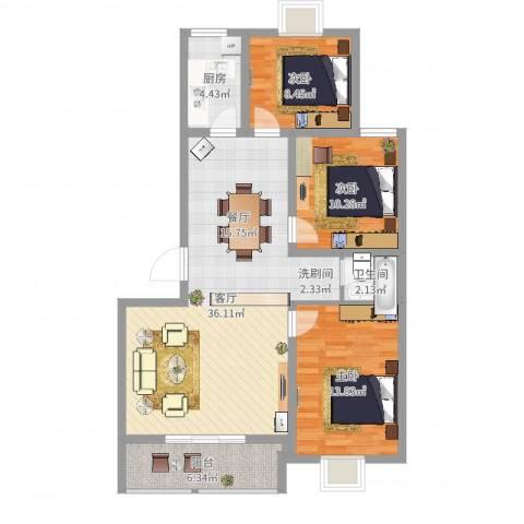 柳青齐鲁园3室1厅1卫1厨102.00㎡户型图