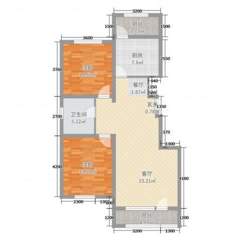 吉星・花园2室1厅1卫1厨104.00㎡户型图