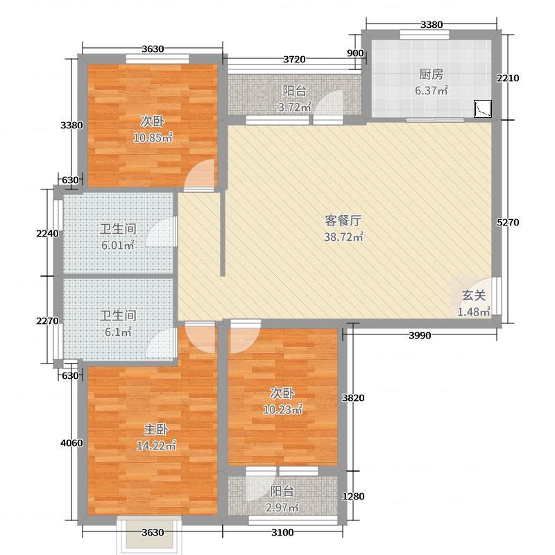 珠光逸景124.00㎡D1户型3室3厅2卫1厨