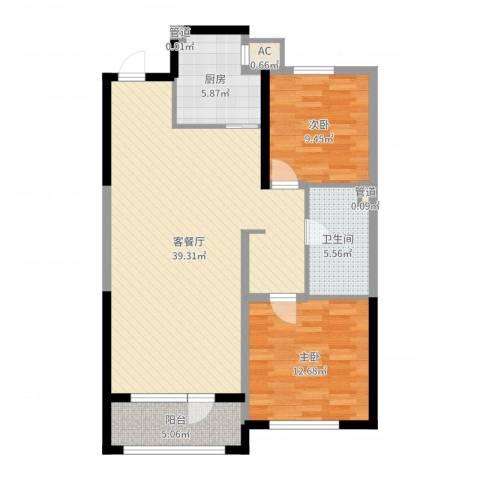 万科金域蓝湾2室2厅1卫1厨98.00㎡户型图