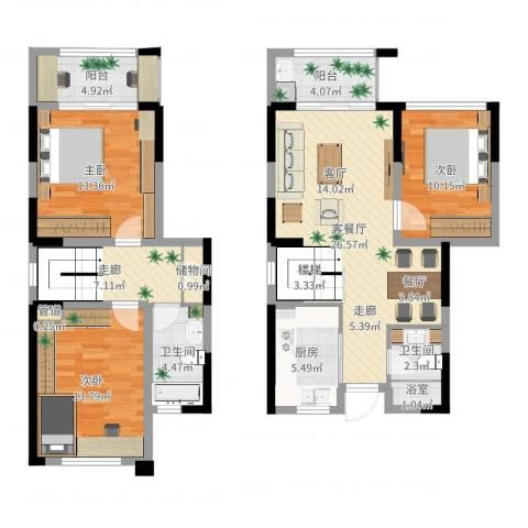 华润城立方3室2厅2卫1厨118.00㎡户型图