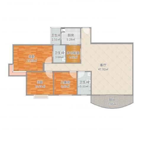 粤港花园3室1厅3卫1厨141.00㎡户型图