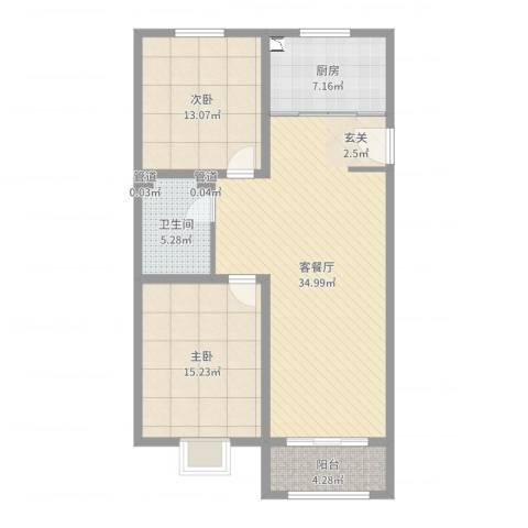中达・名门世家2室2厅1卫1厨100.00㎡户型图