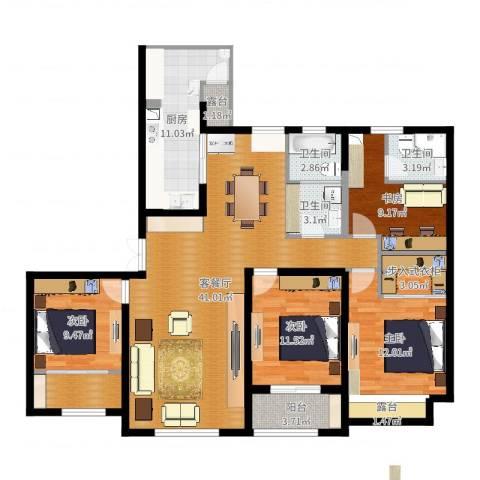 天安曼哈顿4室2厅3卫1厨116.40㎡户型图