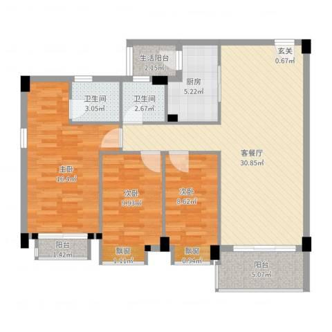 碧翠华庭3室2厅2卫1厨120.00㎡户型图