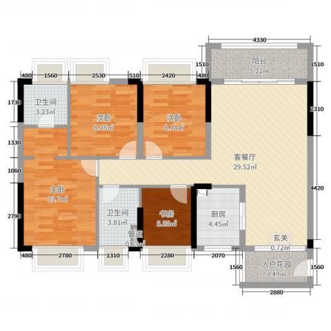 晟大翠海明珠苑4室2厅2卫1厨107.00㎡户型图