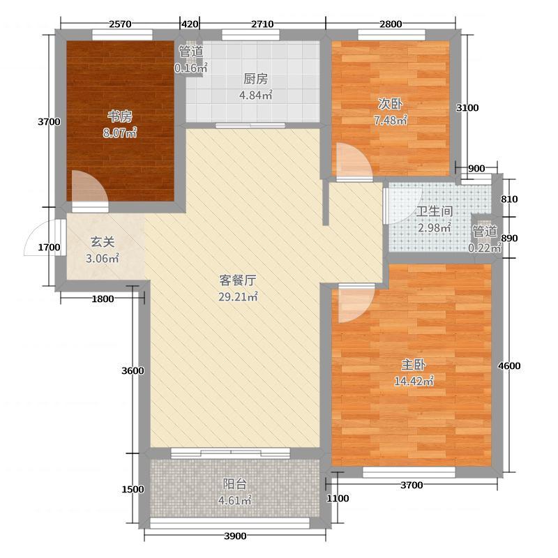 滦州碧桂园103.00㎡4、8、9-11号楼YJ105C户型3室3厅1卫1厨