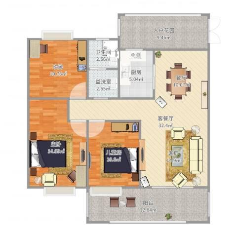 水安盛世桃源3室5厅1卫1厨127.00㎡户型图