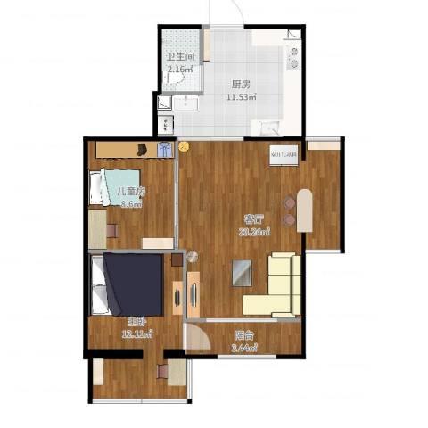 石佛营西里2室1厅1卫1厨76.00㎡户型图