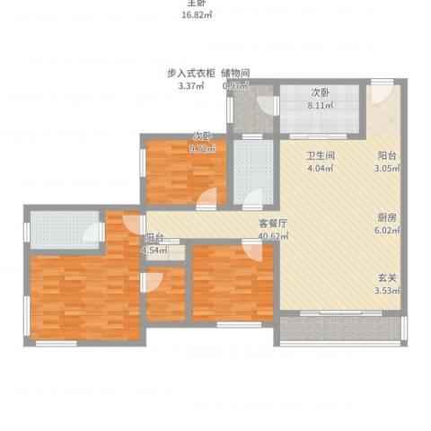 天邻风景3室2厅2卫1厨127.00㎡户型图