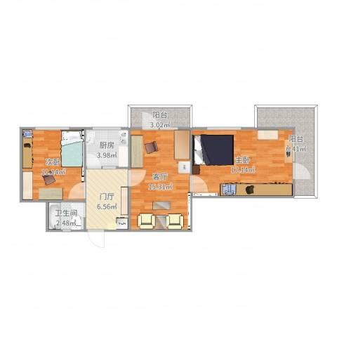 金泉里2室1厅1卫1厨83.00㎡户型图