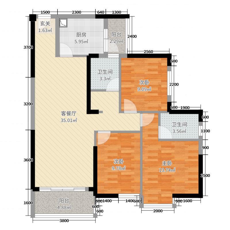 恒基凯旋门118.28㎡C2户型3室3厅2卫1厨