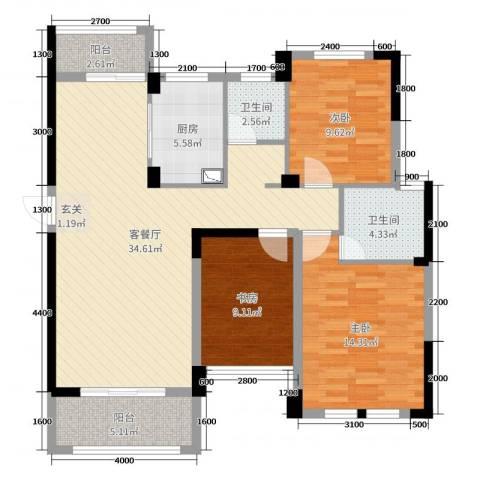 佳美紫郡3室2厅2卫1厨113.00㎡户型图