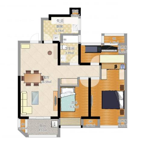 金地湖城艺境1室1厅1卫1厨95.00㎡户型图