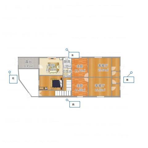 一德名苑2室5厅1卫1厨150.00㎡户型图