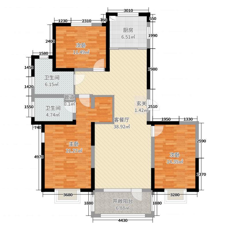 青岛印象畔138.00㎡5#中间户标准层B2户型3室3厅2卫1厨
