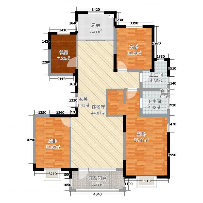 青岛印象畔159.00㎡4#东边户标准层A1户型4室4厅2卫1厨