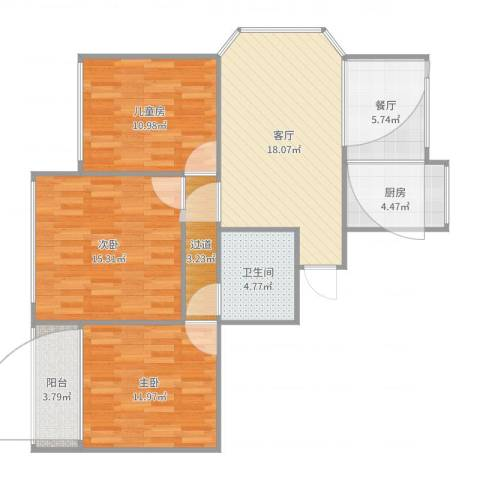 艮山流水苑3室2厅1卫1厨98.00㎡户型图