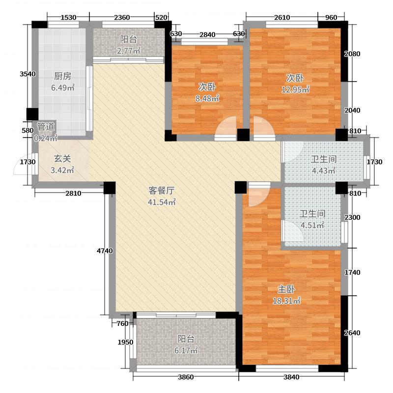 亿力未来城132.34㎡3期35#楼01户型3室3厅2卫1厨