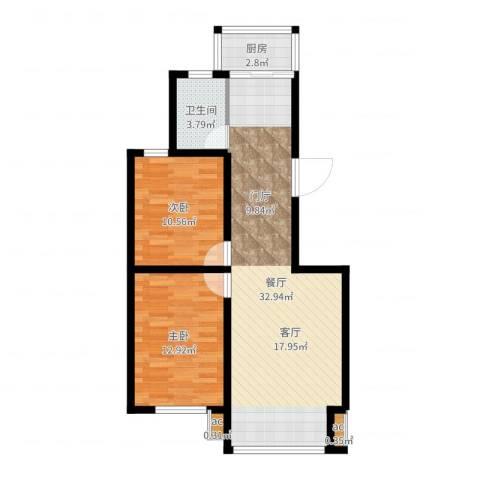 金港国际静园2室1厅1卫1厨80.00㎡户型图