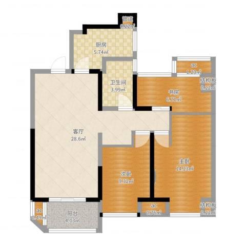 金地湖城艺境3室1厅1卫1厨95.00㎡户型图