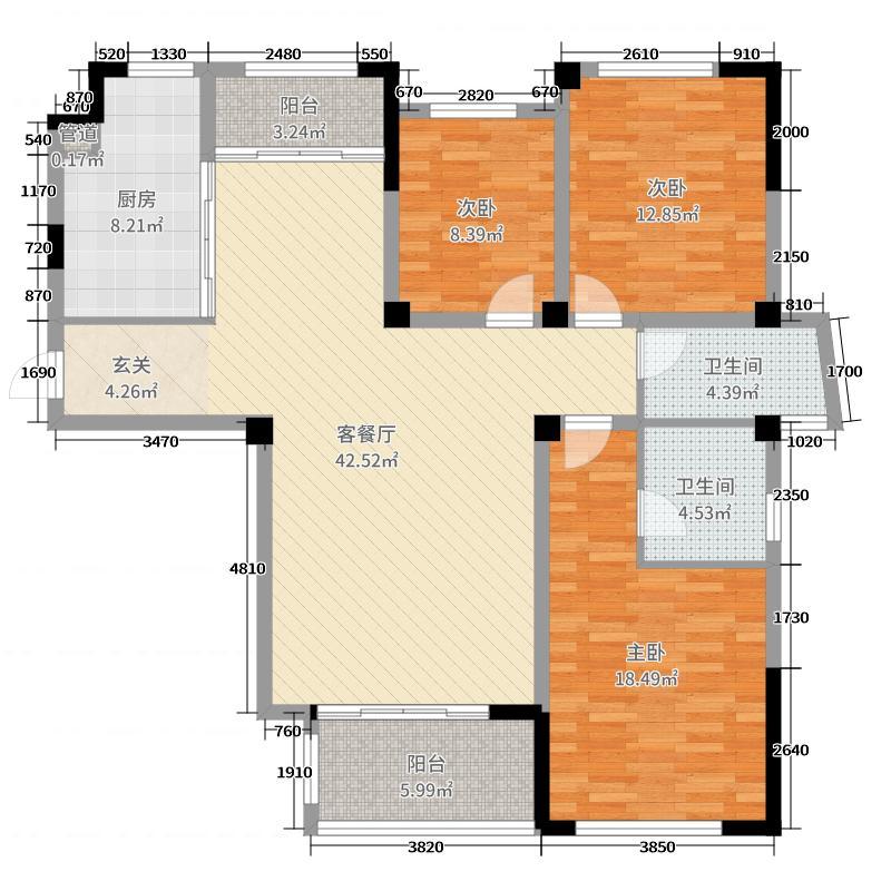 亿力未来城136.04㎡3期35#楼04户型3室3厅2卫1厨