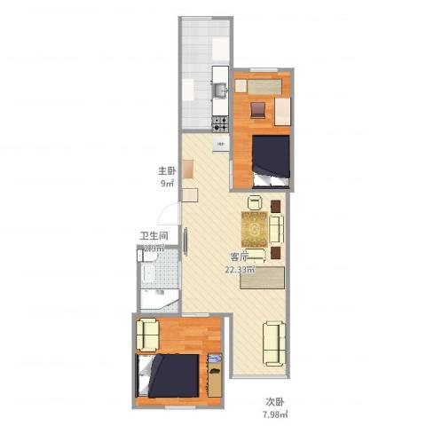 东平里2室1厅1卫1厨66.00㎡户型图