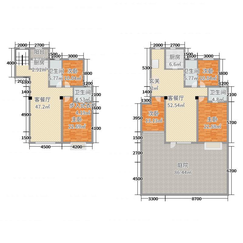 鸿玮澜山三期尊岳119.00㎡10号楼6号院户型6室6厅4卫2厨