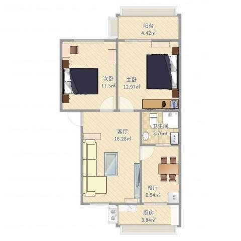 工农里23栋2单元4号2室2厅1卫1厨74.00㎡户型图