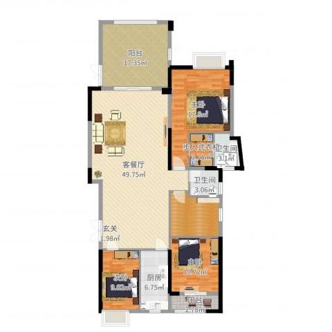 水岸花城3室2厅2卫1厨131.68㎡户型图