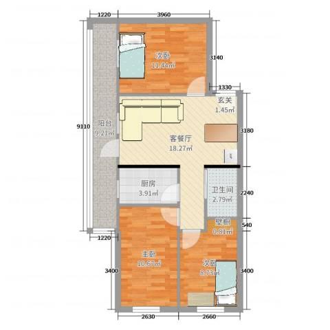 西坝河东里3室2厅1卫1厨81.00㎡户型图