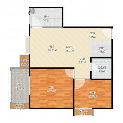 东方星家园2室2厅1卫1厨100.00㎡户型图