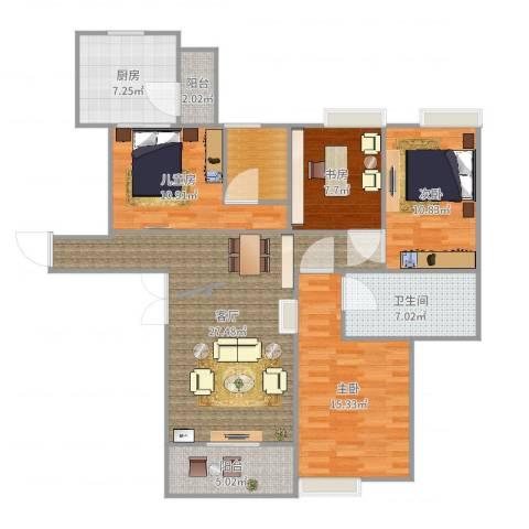 世贸天城4室1厅1卫1厨122.00㎡户型图