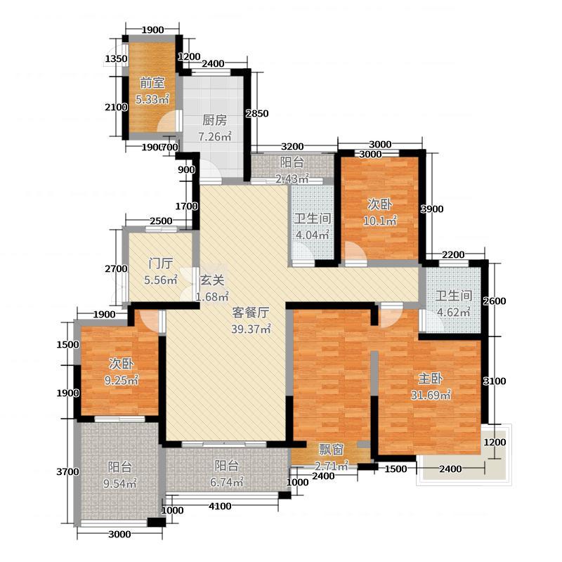 藏龙府邸155.82㎡F户型4室4厅2卫1厨