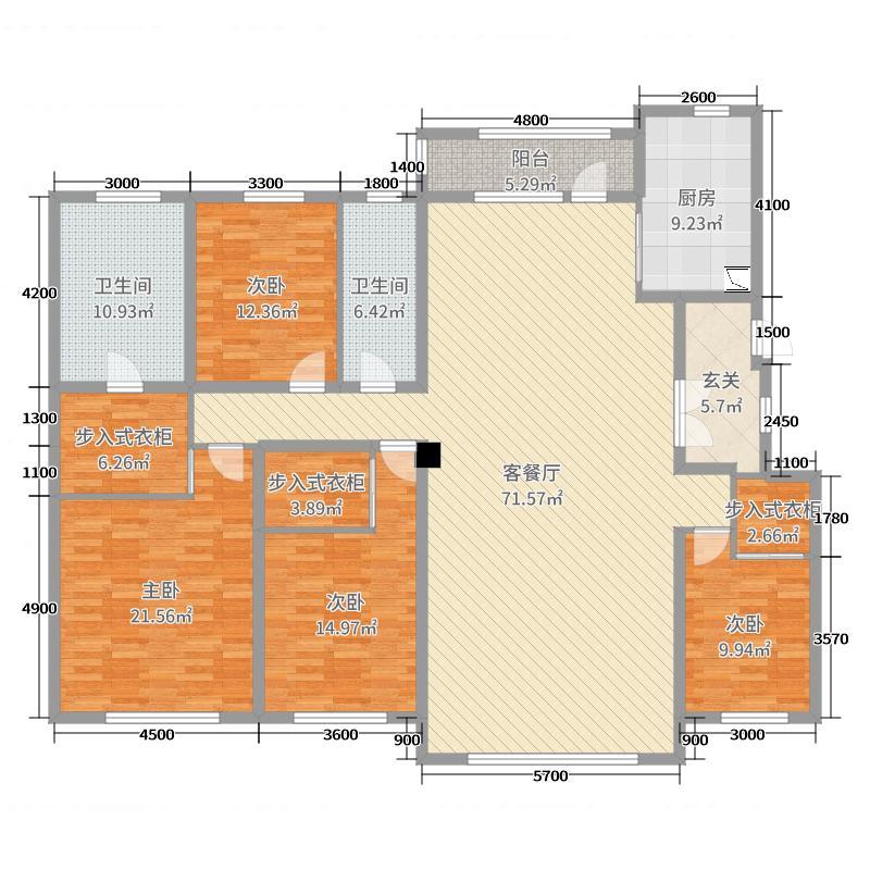鸿玮澜山三期尊岳216.00㎡户型4室4厅2卫1厨