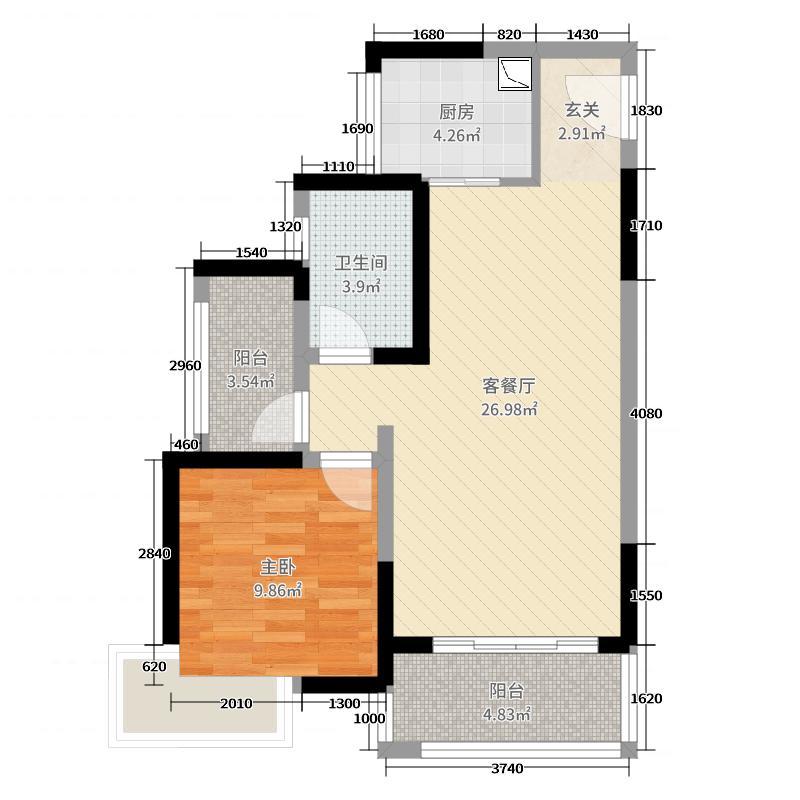盛安・时尚家74.00㎡8栋B户型2室2厅1卫1厨