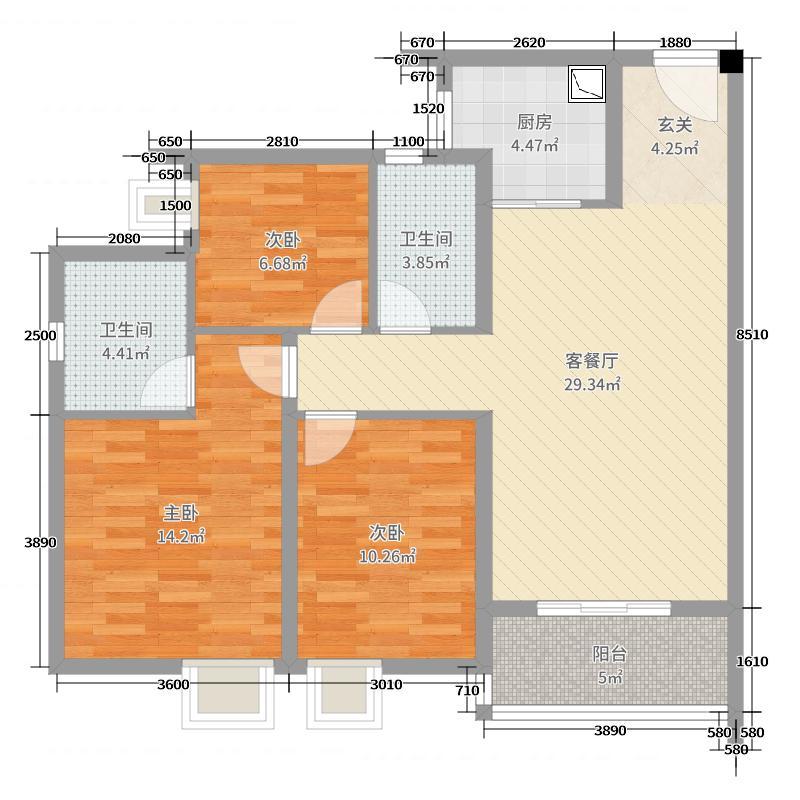 联投金色港湾锦绣110.81㎡36#B户型3室3厅2卫1厨