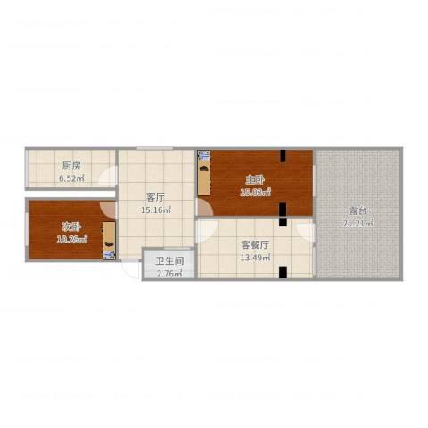银都花园2室3厅1卫1厨106.00㎡户型图