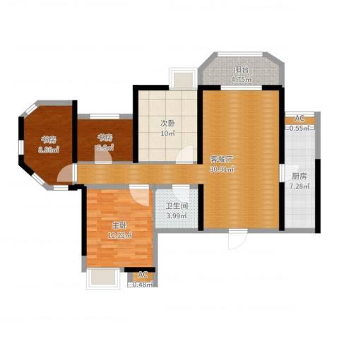 华城泊郡二期3室2厅1卫1厨105.00㎡户型图
