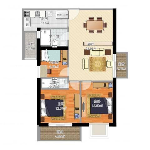 华港花园3室1厅2卫1厨103.00㎡户型图