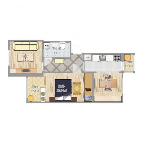 安慧北里秀园1室1厅1卫2厨52.00㎡户型图