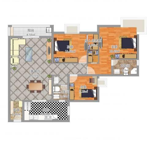 天邻风景3室2厅2卫1厨125.00㎡户型图