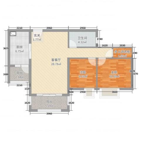 华辉秦淮公馆2室2厅1卫1厨86.00㎡户型图